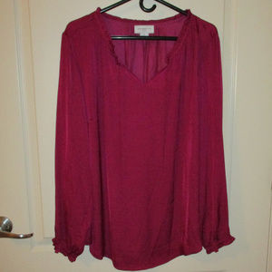 Liz Claiborne 1X fuschia blouse long sleeves